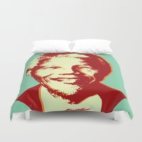 mandela Duvet Covers featuring NELSON MANDELA by mark ashkenazi