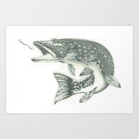 Fish & Hook Art Print