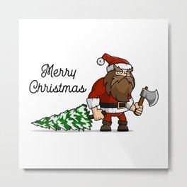 Santa Claus lumberjack with Christmas tree Metal Print