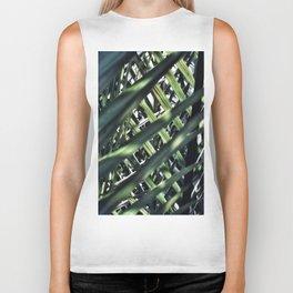 blue green light shadows tropical palm tree leaves crisscross pattern Biker Tank