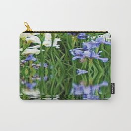 BLUE & WHITE IRIS WATER REFLECTION ART Carry-All Pouch