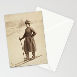 Vintage Skiing Photo of Eva Nansen Stationery Cards