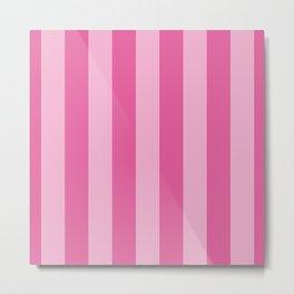 Bright Pink Cupcake Wide Cabana Stripes Metal Print