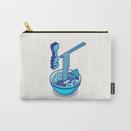 Japanese Ramen Isometric Minimal - White Cyan Carry-All Pouch