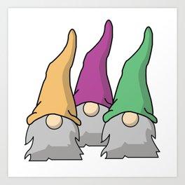 Minimalist Scandinavian Gnomes Art Print