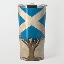 Vintage Tree of Life with Flag of Scotland Travel Mug