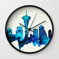 seattle Wall Clocks featuring Seattle  by Talula Christian