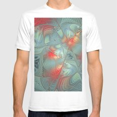 String Theory Fractal Art MEDIUM Mens Fitted Tee White