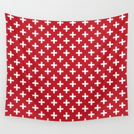 Criss Cross | Plus Sign | Red and White Wall Tapestry