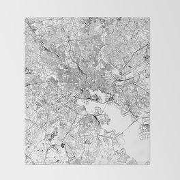 Baltimore White Map Throw Blanket
