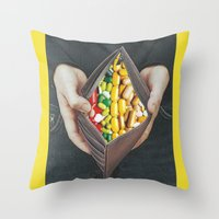 pills Throw Pillows featuring pills by marzesu collages