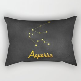Aquarius Constellation Gold Rectangular Pillow