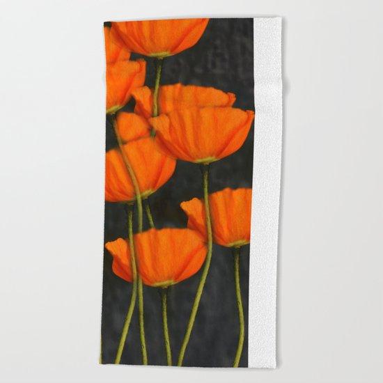 Poppies(orange). Beach Towel