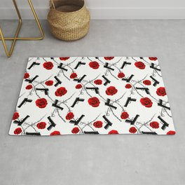 Roses Barbed Wire Guns Pattern Love Is War Rug