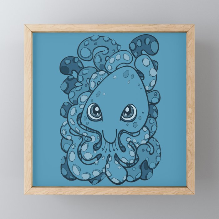 Happy Octopus Squid Kraken Cthulhu Sea Creature , Sailor Blue Framed Mini  Art Print by bignoseart