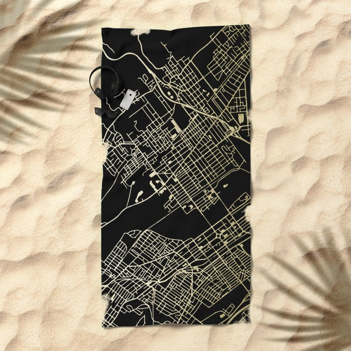 Wilkes-Barre Gold and Black Map Beach Towel