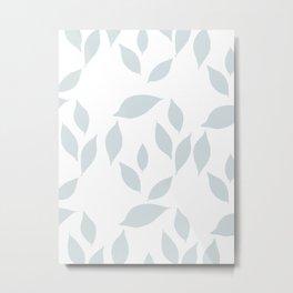 Autumn Leaves Pattern #7 #LightBlueGrey #White #foliage #decor #art #society6 Metal Print