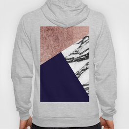 Modern Marble Rose Gold and Navy Blue Tricut Geo Hoody