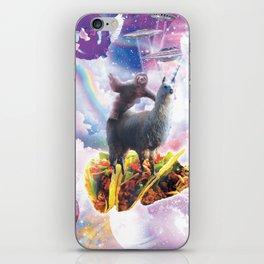 Space Sloth Riding Llama Unicorn - Taco & Donut iPhone Skin