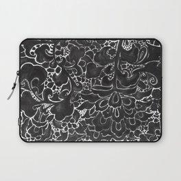 Watercolor Chinoiserie Block Floral Print in Black Ink Porcelain Tiles Laptop Sleeve
