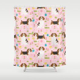 Beagle easter spring bunny eggs dog breed gifts for pure breed pet lover beagles Shower Curtain