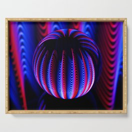 Blue and red in the glass ball. Serving Tray