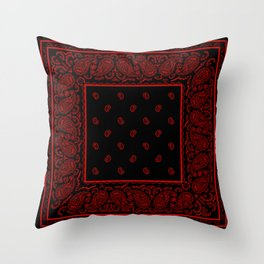 Classic Red and Black Bandana Throw Pillow