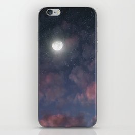 Glowing Moon on the night sky through pink clouds iPhone Skin