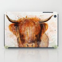 cow iPad Cases featuring Cow by emegi
