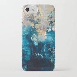 Timeless: A gorgeous, abstract mixed media piece in blue, pink, and gold by Alyssa Hamilton Art iPhone Case