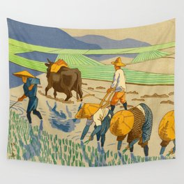 Asano Takeji Rice Transplantation Vintage Japanese Woodblock Print Asian Farmers Sedge Hat Wall Tapestry