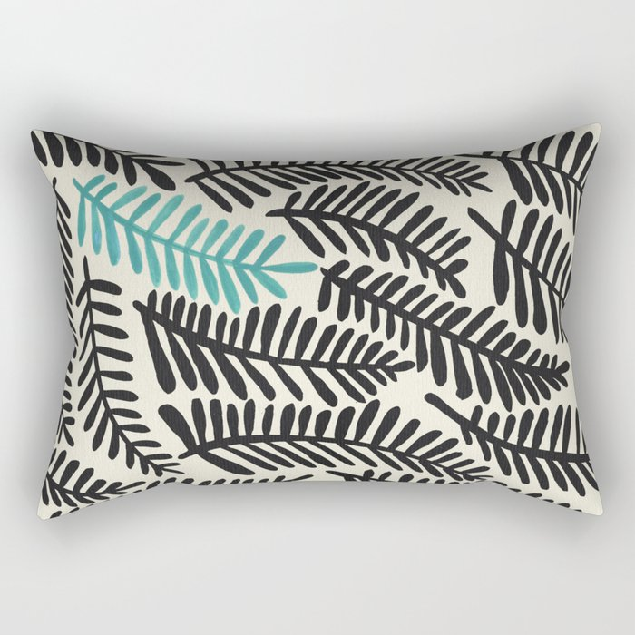 Black Fronds Rectangular Pillow