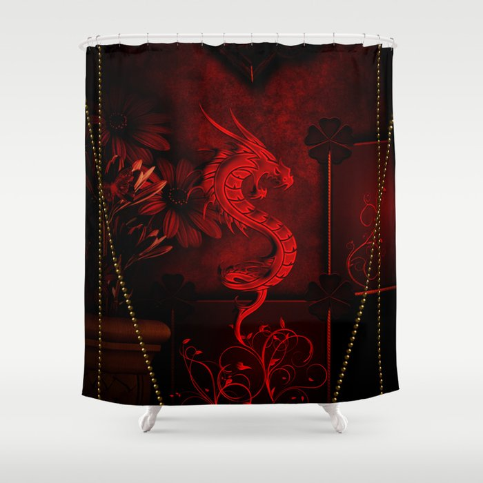 Wonderful Red Chinese Dragon Shower Curtain