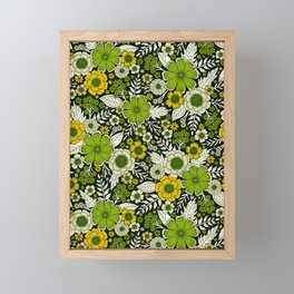 Modern Yellow & Green Floral Pattern Framed Mini Art Print