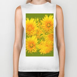 ABSTRACTED MOSS GREEN  FIRST SPRING YELLOW DANDELIONS Biker Tank