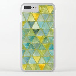 Pepperstem Green Colorway - Tesselate Eco Green Triangle Pattern Clear iPhone Case