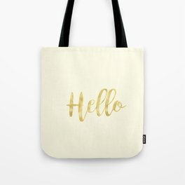Hello in Golden Yellow on Cream Tote Bag
