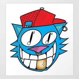 Hipster Cat Face Art Print