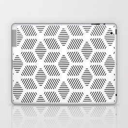 Geometric Line Lines Diamond Shape Tribal Ethnic Pattern Simple Simplistic Minimal Black and White Laptop & iPad Skin