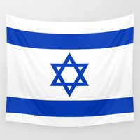 israel Wall Tapestries featuring The National flag of the State of Israel by Bruce Stanfield
