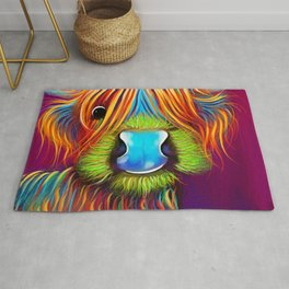 HiGHLaND CoW PRiNT SCoTTiSH ' STaNLeY THe TaRTaN Coo ' BY SHiRLeY MacARTHuR Rug