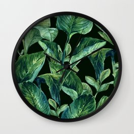 Blue Green Watercolor Tropical Leaves Wall Clock