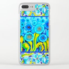 Field of Blue Poppies with Top and Bottom Border Belize Clear iPhone Case