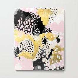 Simone - abstract painting gold foil trendy hipster pastel pink modern trendy colors decor college Metal Print