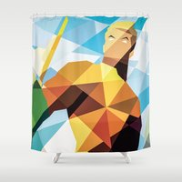 aquaman Shower Curtains featuring DC Comics Aquaman by Eric Dufresne