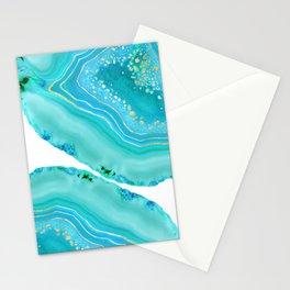 Soft Aqua Marine Gold Agate Glam #1 #gem #decor #art #society6 Stationery Cards