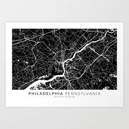 Philadelphia Map With Coordinates Art Print