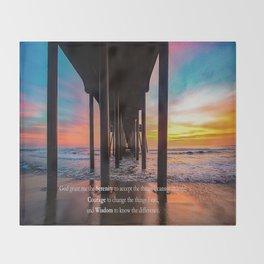 Serenity Prayer - Surf City USA Throw Blanket