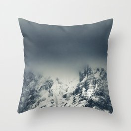 Darkness and clouds covering mountain Throw Pillow