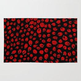 Ladybugs (Red on Black Variant) Rug